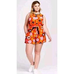 Victoria Beckham for Target Orange Floral Romper